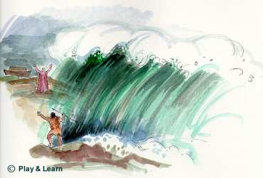A huge wave came between Prophet Noah and his son. - Image © Play & Learn